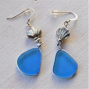 Blue Sea Glass and Shell Silver Dangle Earrings